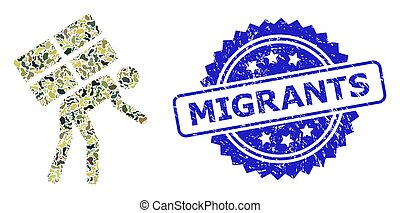 Military camouflage collage of refugee, and Migrants grunge rosette stamp seal. Blue stamp seal has Migrants caption inside rosette. Mosaic refugee constructed with camouflage items.