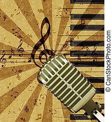 grunge, mikrofon, musik, bakgrund