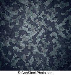 grunge, militær, baggrund, ind, blå