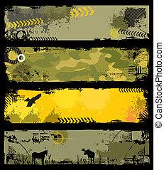 grunge, militaire, bannières, 2