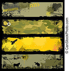 four military graphic grunge banners with copyspace.