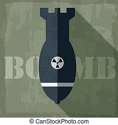 grunge military bomb icon background concept. Vector...