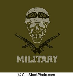 grunge military emblem with skull and automatic guns