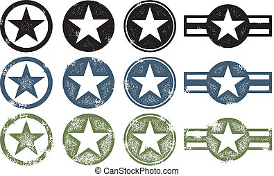 Set of Military Style Stars in various states of distress.