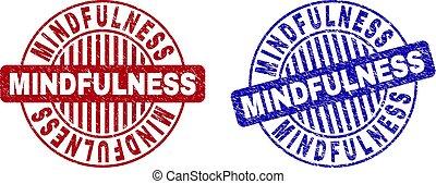 Grunge MINDFULNESS Textured Round Stamp Seals