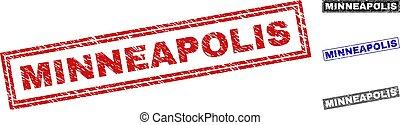 Grunge MINNEAPOLIS Textured Rectangle Stamp Seals