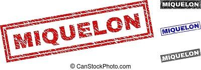 Grunge MIQUELON Textured Rectangle Stamp Seals