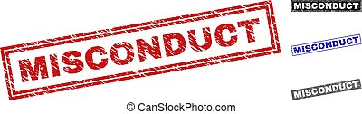 Grunge MISCONDUCT Scratched Rectangle Stamp Seals