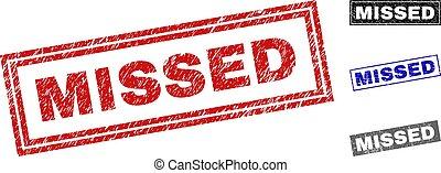 Grunge MISSED Textured Rectangle Stamp Seals