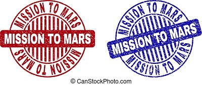 Grunge MISSION TO MARS Textured Round Stamps