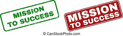 Grunge MISSION TO SUCCESS Stamps with Rounded Rectangle Frames