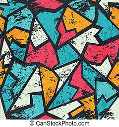 grunge, modèle, graffiti, coloré, seamless