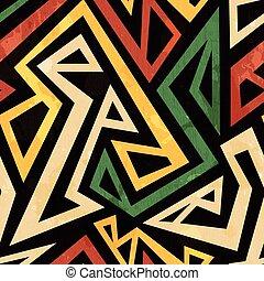 grunge, model, seamless, dojem, afričan, geometrický