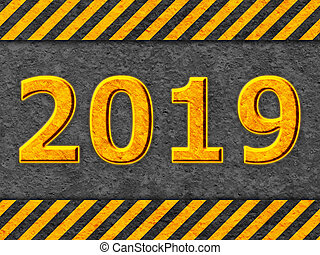 grunge, modello, avvertimento, nero, testo, arancia, 2019