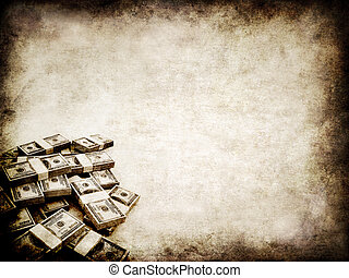 3d rendered illustration of an old paper texture with dollar bundles