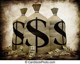 3d rendered illustration of money sacks on a grunge background