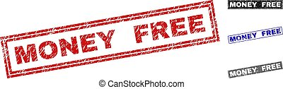 Grunge MONEY FREE Scratched Rectangle Stamps