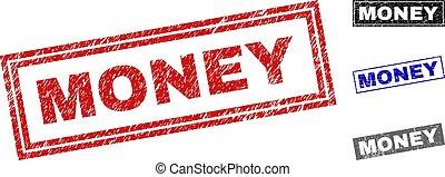 Grunge MONEY Textured Rectangle Stamp Seals
