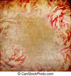 grunge, mooi, rozen, achtergrond, (, 1, van, set)