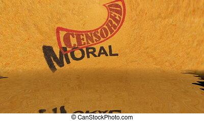 grunge, moral, concept, texte, censuré