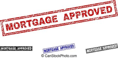 Grunge MORTGAGE APPROVED Textured Rectangle Stamp Seals