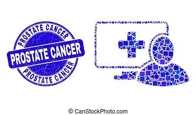 grunge, mosaïque, prostate, timbre, bleu, patient, cancer, informatique