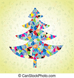 Grunge Mosaic Christmas Tree Greeting Card made of small...