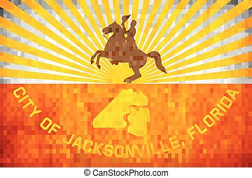 Grunge mosaic flag of the City of Jacksonville