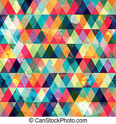 grunge, motívum, háromszög, színezett, seamless