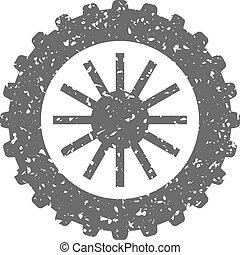 grunge, -, motocicleta, neumático, icono