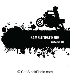 Grunge motocross poster with rider silhouette, vector...