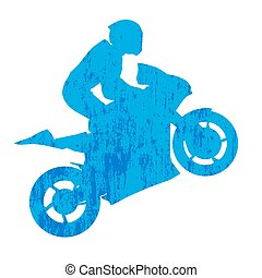 Grunge motorcycle rided silhouette
