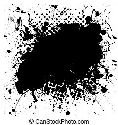 Black and white grunge ink splat background with copy space for your text
