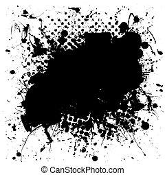grunge mottled ink splat - Black and white grunge ink splat...