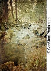 Grunge mountainous frozen river
