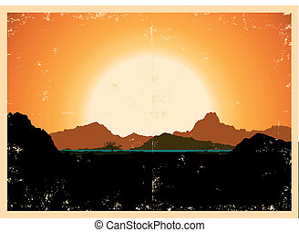 Grunge Mountains Landscape Poster