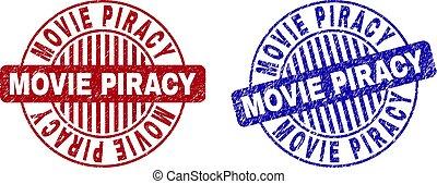 Grunge MOVIE PIRACY Scratched Round Stamp Seals
