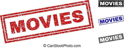 Grunge MOVIES Scratched Rectangle Stamp Seals