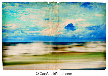 Grunge moving sea-scape - Illustration of sea scene out of a...
