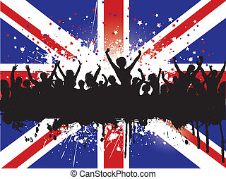 grunge, multitud, en, un, unión jack, bandera, plano de...