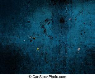grunge, mur bleu, texture, fond