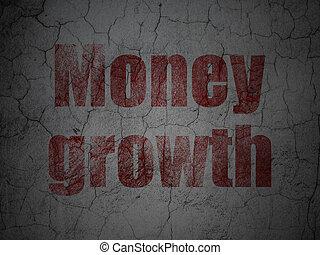 grunge, mur, devise argent, croissance, fond, concept: