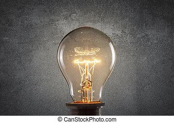 grunge, mur, lumière, sur, incandescent, ampoule