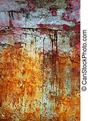 grunge, mur, texture, peinture, vert, vieilli, rouges
