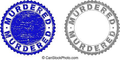 Grunge MURDERED Textured Stamp Seals
