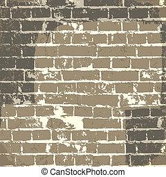 grunge, muro di mattoni, fondo, per, tuo, message., vettore, eps10