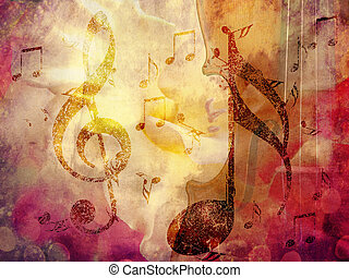 Grunge music background - Abstract grunge, vintage music...