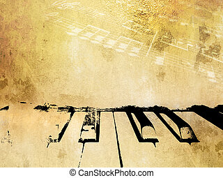Grunge music background piano notes