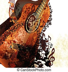Grunge music background with classi