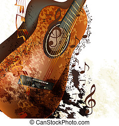 Grunge music background with classic guitar and notes